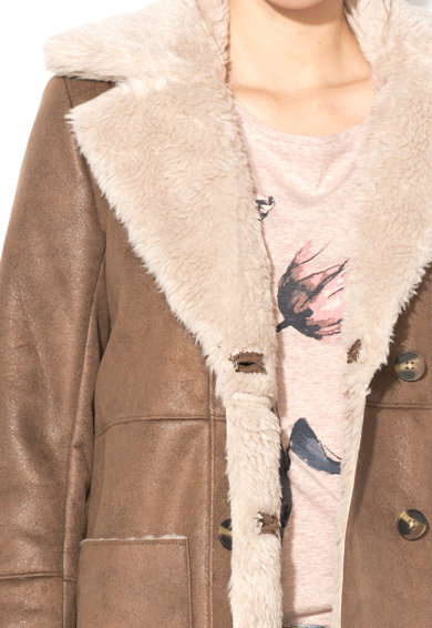 Pepe Jeans London Jacheta din blana shearling sintetca cu doua randuri de nasturi Ora Femei
