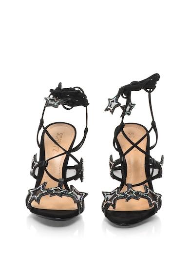 Schutz Sandale stiletto din piele cu snururi infasurabile si aplicatii cu strasuri Femei