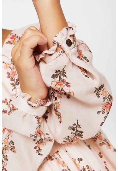 Mango Rochie evazata cu model floral si maneci lungi Fete